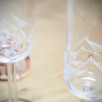 Pair of Ocean Wave Hand Engraved Champagne Flutes