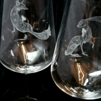 Pair Of Bohemia Crystal Wine Glasses, Mystic Hare & Fox