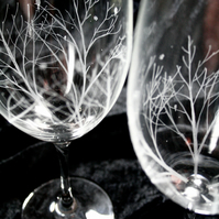 Pair of Winter Woodland Wine Glasses