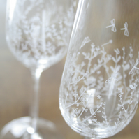 Pair of Crystal Natural World Champagne, Hand Engraved Champagne Flutes