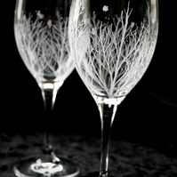 Pair of Winter Themed Engraved Crystal Glasses