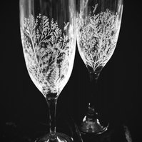 Pair of Hand Engraved Champagne Glasses