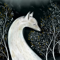 White Fox and Leaves