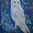 White Owl and Spring Flowers Original Painting