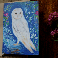 White Owl - Original Painting By Victoria Lucy Williams - Art Card