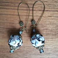 Bronze & Handmade Lampwork Dangle Earrings