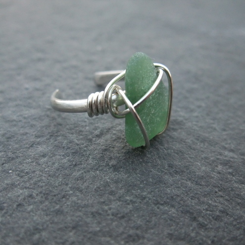 Silver and sea glass ring