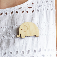 Wooden Elephant Brooch