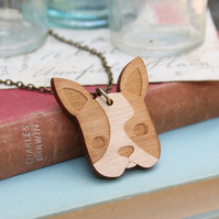 Wooden French Bulldog Necklace