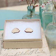 Wooden Hedgehog Stud Earrings