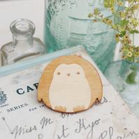 Wooden Penguin Brooch