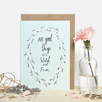Wild and Free Flower Wreath Greeting Card