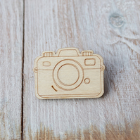 Wooden Camera Brooch