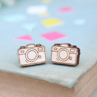 Wooden Camera Stud Earrings