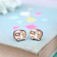 Wooden Caravan Stud Earrings
