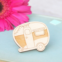 Wooden Caravan Brooch