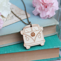 Wooden Camper Van Necklace