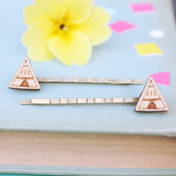 Wooden Teepee Hair Grips