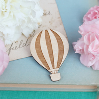 Wooden Hot Air Balloon Brooch