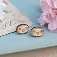 Wooden Sloth Stud Earrings