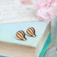Wooden Hot Air Balloon Stud Earrings