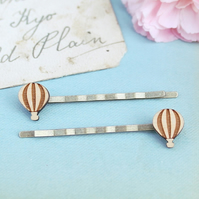 Wooden Hot Air Balloon Hair Grips