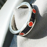 Sterling Silver Inlay Crushed Black Seashell and Orange Opal Ring