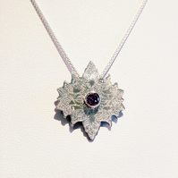 Engraved Fine Silver Star Necklace with Faceted Amethyst