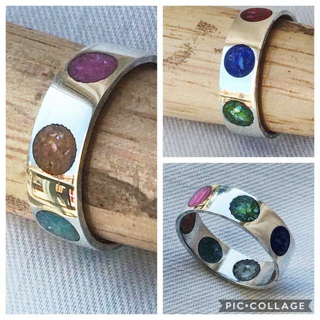 Sterling Silver Rainbow Inlay Dots Ring with Crushed Sea Shell