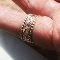 Beautiful Patterned Copper Ring with Two Sterling Silver Stacking Rings