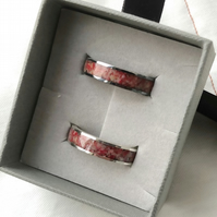Beautiful Sterling Silver Channel Inlay Ring with Genuine Red Coral