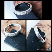 Snake Skin Patterned Sterling Silver Ring