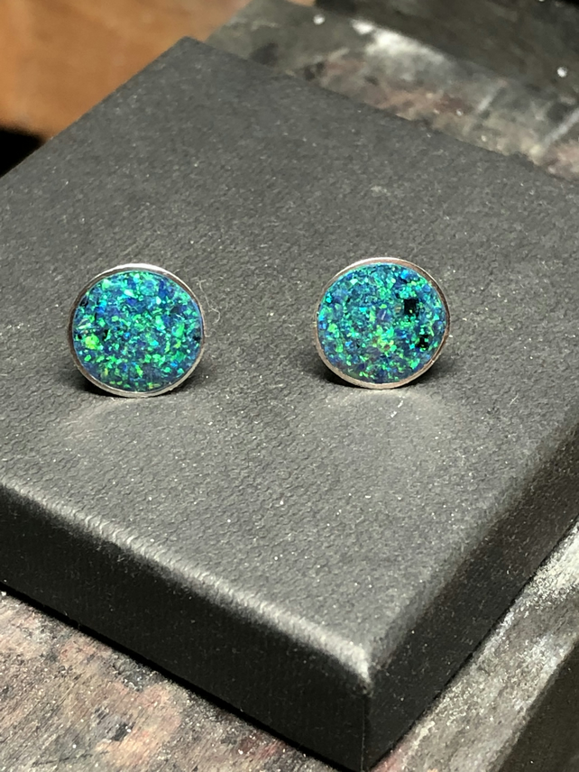 Black Opal Inlay Sterling Silver Earrings