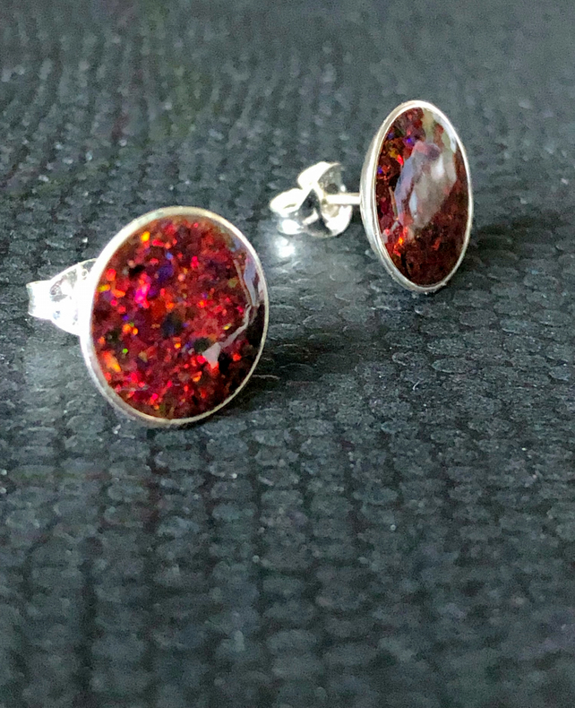Deep Red Opal Inlay Sterling Silver Earrings