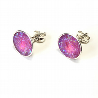 Pink Opal Inlay with Blue Fire Sterling Silver Earrings