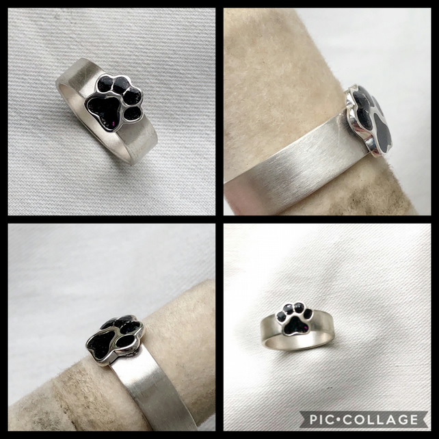 Dog Paw Cremation Memorial Ring in Sterling Silver
