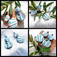 Mother of Pearl Shell Blue Wave Coin Bead Earrings with Silver Earwires