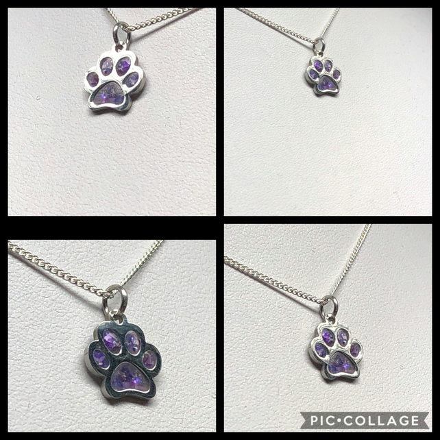 Cremation Ashes Pet Memorial Dog Paw Necklace