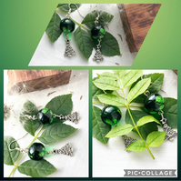 Galactic Green Christmas Tree Charm Dangle Drop Earrings