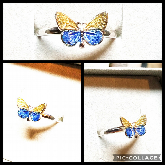 Dainty Sterling Silver Butterfly Ring in Blue and Gold