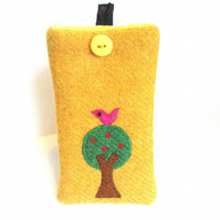 Yellow Harris Tweed iPhone 4, 4S, 5 case, birdy in apple tree, free UK delivery