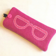 Pink Harris Tweed Glasses Case - Appliqued Specs - Free UK Delivery