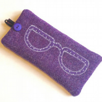 Purple Harris Tweed glasses case with embroidered specs