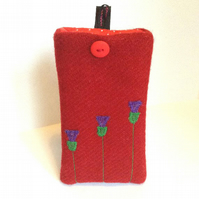 Red Harris Tweed iPhone 4, 4S, 5 case, appliqued thistles, free UK delivery