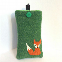 Green Harris Tweed iPhone 4, 4S, 5 case, embroidered Mr Fox, free UK delivery