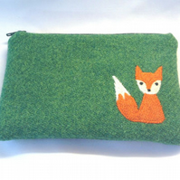 Green Zipper Purse Small Make-up Bag - Appliqued Mr Fox - Free UK Delivery