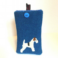 Blue Harris Tweed iPhone 4, 4S, 5 case, appliqued fox terrier, free UK delivery