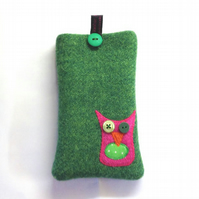 Green Harris Tweed iPhone 4, 4S, 5 case, embroidered owl, free UK delivery