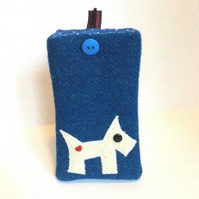 Blue Harris Tweed iPhone 4, 4S, 5 cover, appliqued Westie Dog, free UK delivery