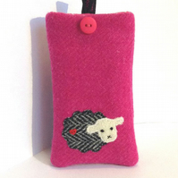 Pink Harris Tweed iPhone 4, 4S, 5 case, embroidered sheep, free UK delivery
